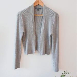Light Gray Ribbed Knit Cropped Cardigan